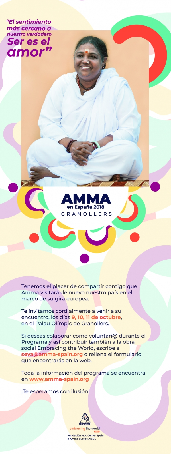 Amma in Granollers (Barcelona). 9 - 11 october 2018